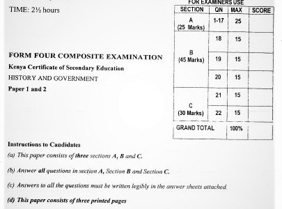 Moi Post-Mock History & Government Composite Paper 2021 (Without Marking Scheme)
