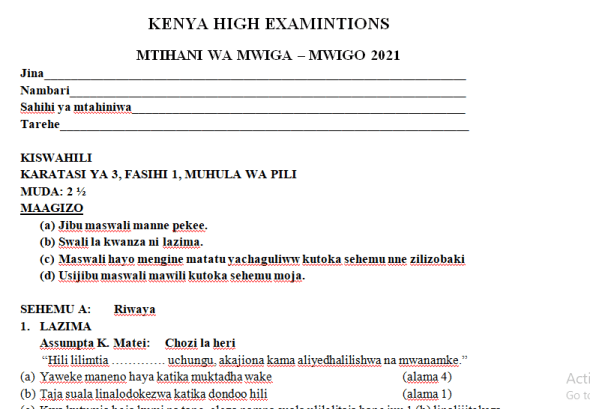 Kenya High Mock Kiswahili Paper 3 2021 (With Marking Scheme)