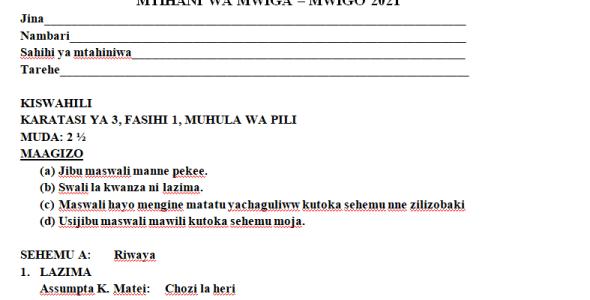 Kenya High Mock Kiswahili Paper 3 2021 (With Marking Scheme)