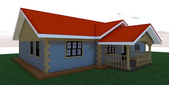 Three Bedroom Bungalow House Plan