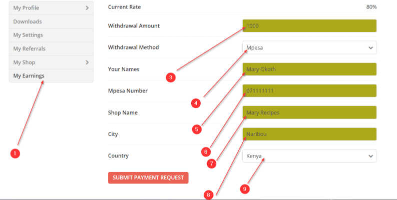 How to withdraw earnings on muthurwa.com
