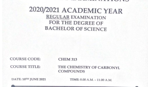 Chemistry of Carbonyl Compounds Examination 2021