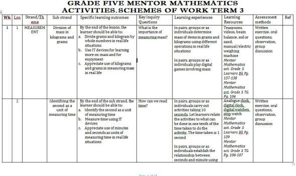 Mentor Mathematics Activities Schemes of Work term 3