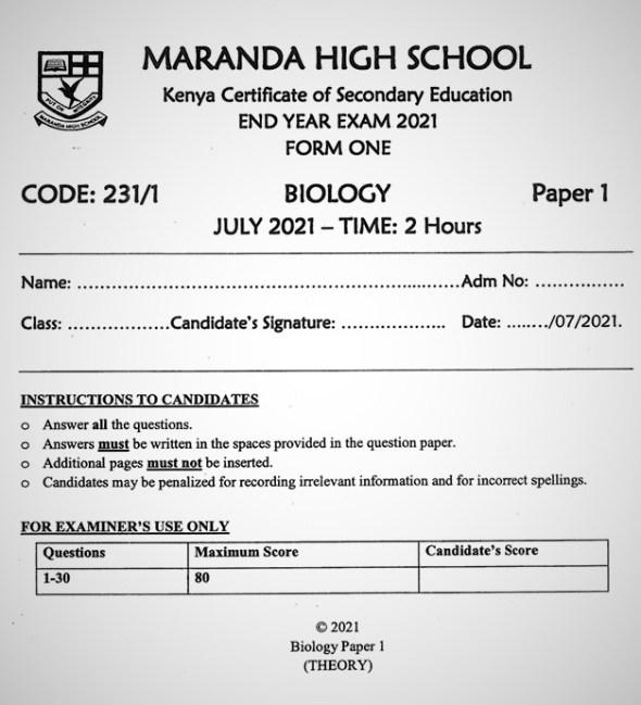 Maranda Biology Form 1 End of Term 3 2021
