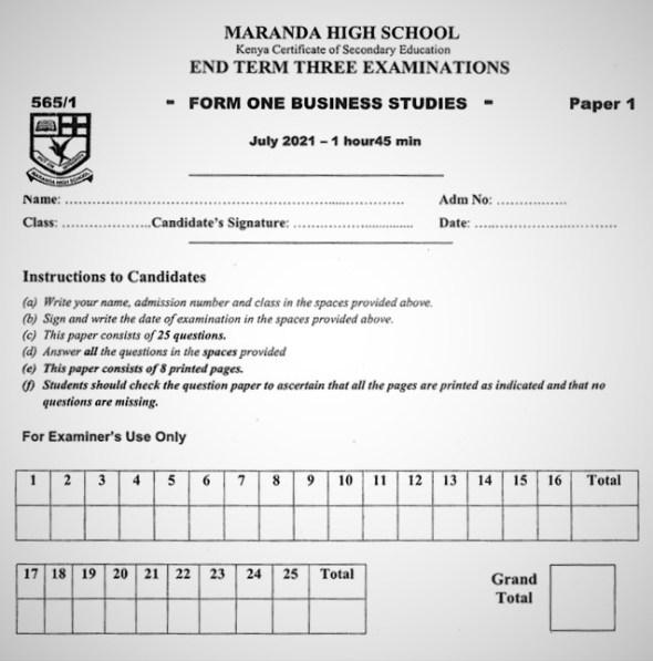 Maranda Business Studies Form 1 End of Term 3 2021