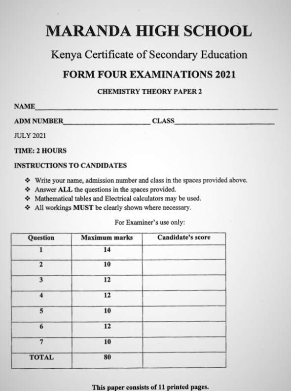Maranda Chemistry PP2 Form 3 End of Term 3 2021