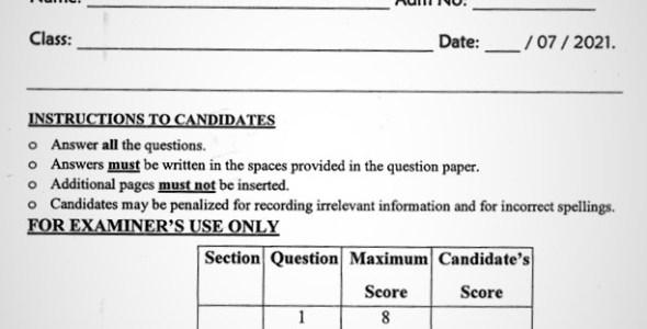 Maranda Biology PP2 Form 3 End of Term 3 2021