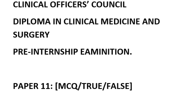Clinical Officers Council (COC) Exam Past Paper 2016
