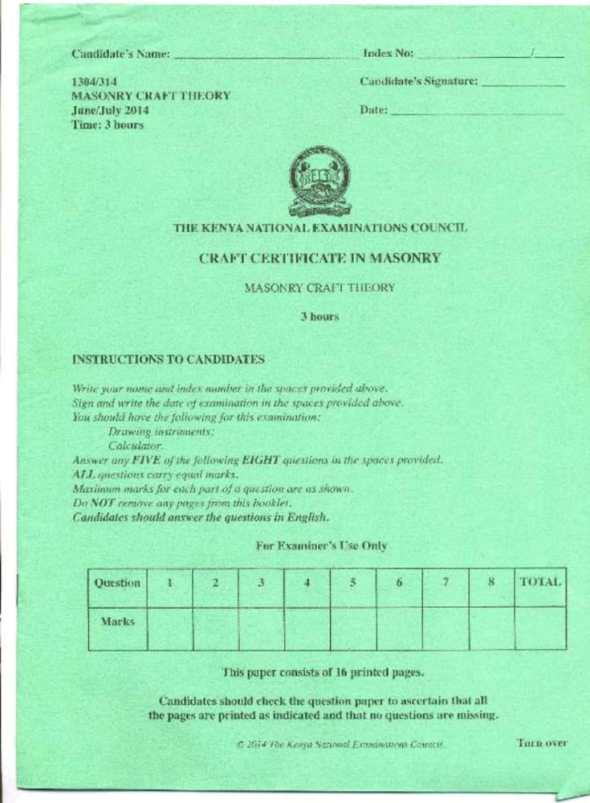 KNEC Exam for Craft Certificate in Masonry