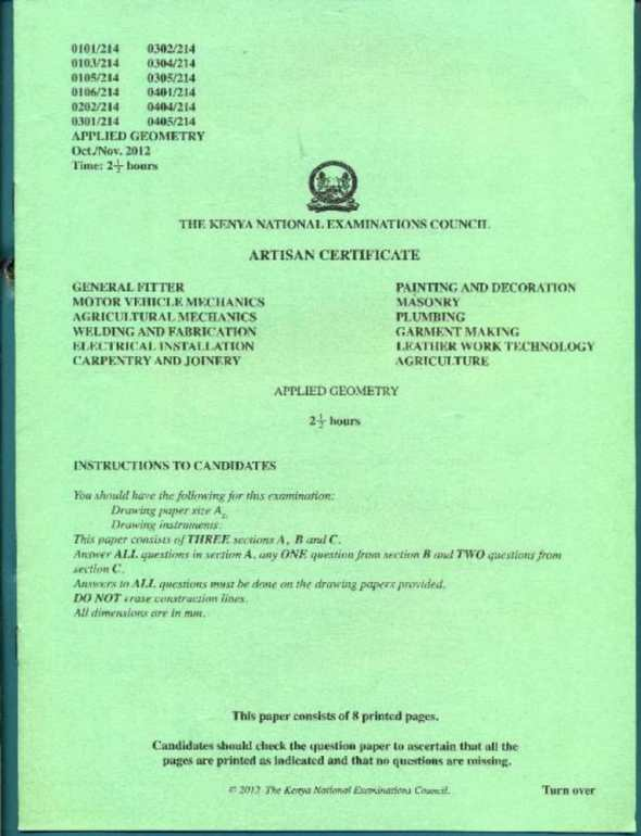 KNEC Exam Past Papers for Applied Geometry in Artisan Certificate