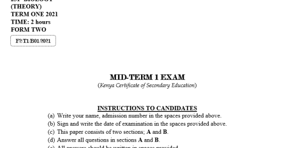 Form 2 Biology Mid-Term 1 Exam (with marking scheme) 2021