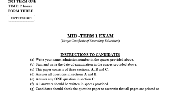 Form 3-2021 Agriculture paper 2 Mid-Term 1 Exam