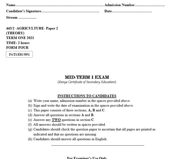 Form 4 - 2021 Agriculture Paper 2 Mid-Term 1 exam(with Marking scheme)
