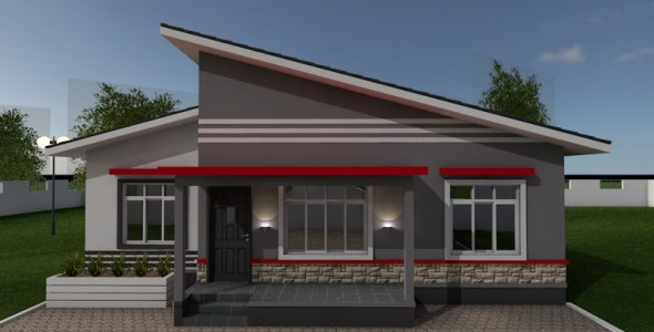 2 Bedroom House Plan(with skillion roof)