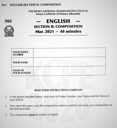 2020 KCPE KNEC English Composition Past Paper