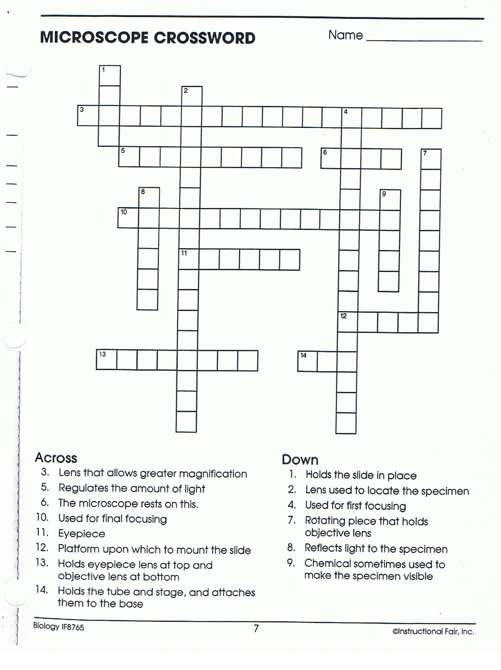 Microscope Crossword Worksheet