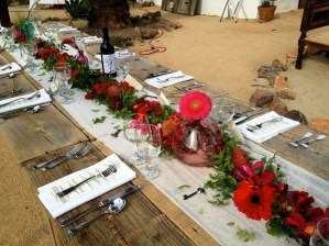 red table scape