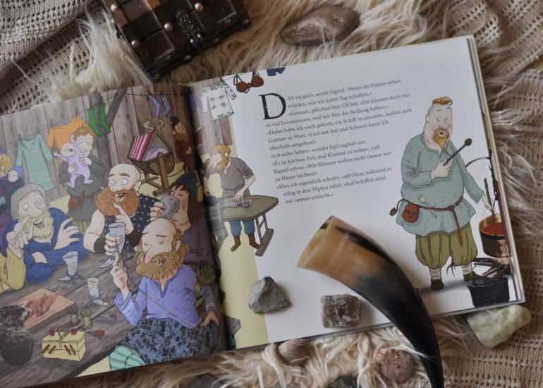 Wenn Wikingerinnen echte Kriegerinnen und viel unterwegs waren - wer blieb dann daheim bei den Kindern? Warum es gut ist, dass Männer und Frauen gleichberechtigt im Alltag sein sollten. Herrlich für Kinder heruntergebrochen. #wikinger #gleichberchtigung #kinderbuch #bilderbuch #starkefrauen #frauen #elternsein