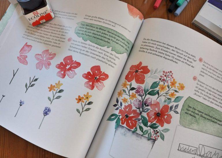 Handlettering Watercolor, wunderschöne Botschaften mit Aquarellfarbe, Anleitung für Aquarelle, Weihnachstkarten mit Aquarellfarbe selbst gestalten, Buch-Tipp auf dem Blog
