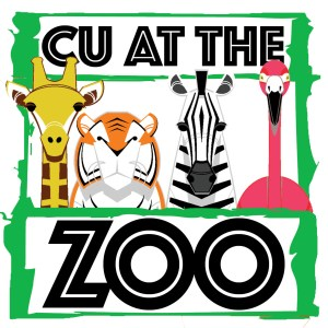 CU at the Zoo logo featuring some of the animals you will see at the Jackson Zoo