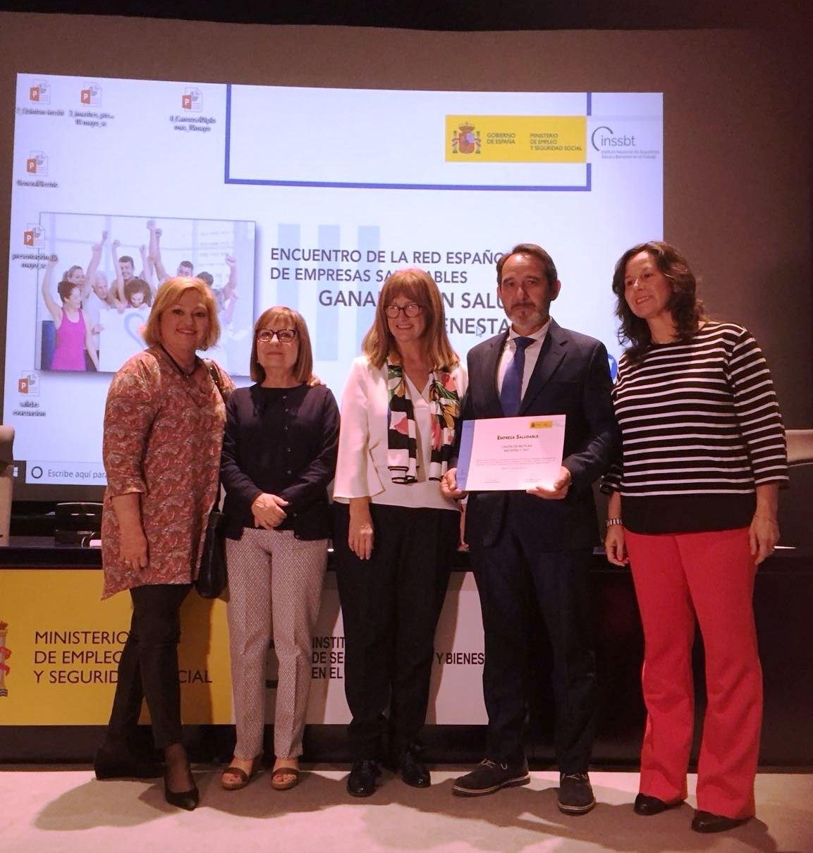 Unión de Mutuas, galardonada con el premio 'Empresa Saludable'