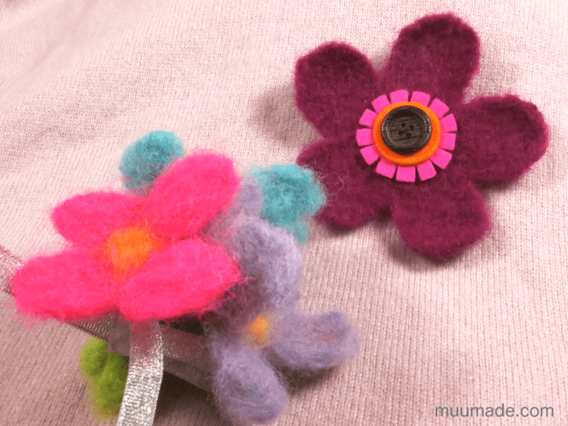 Needle Felted Flower Brooch and bouquet