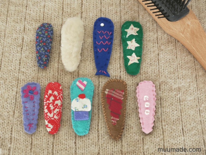 Redecorated hair clips with felt and fabric