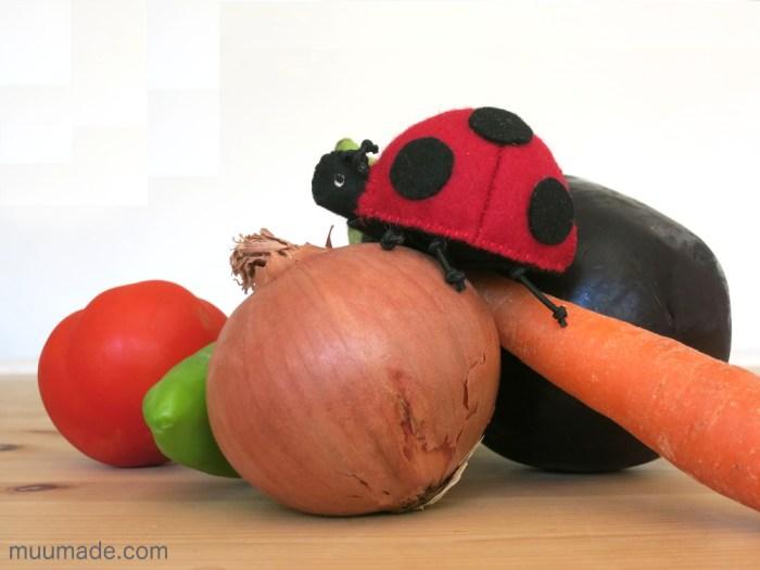 Lucky Ladybug Felt Ornament with Vegetables