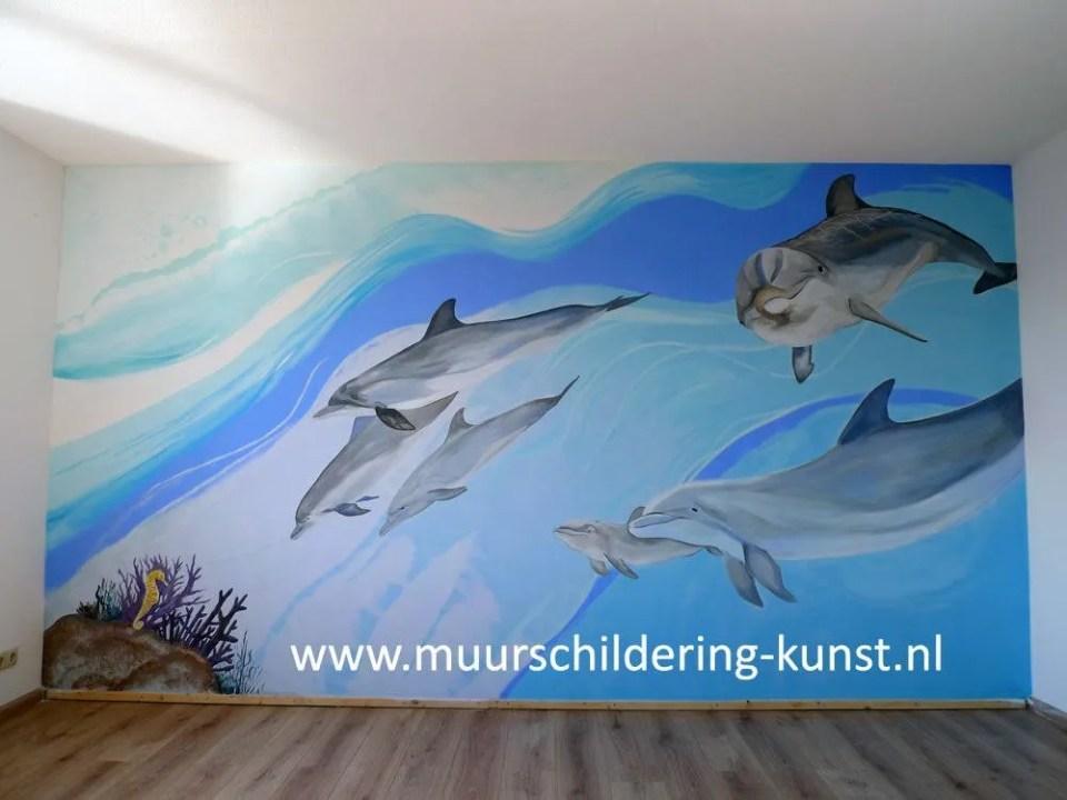 dolfijnen muurschildering