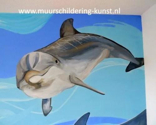 muurschildering dolfijn