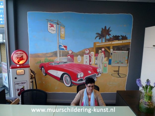 muurschildering autos