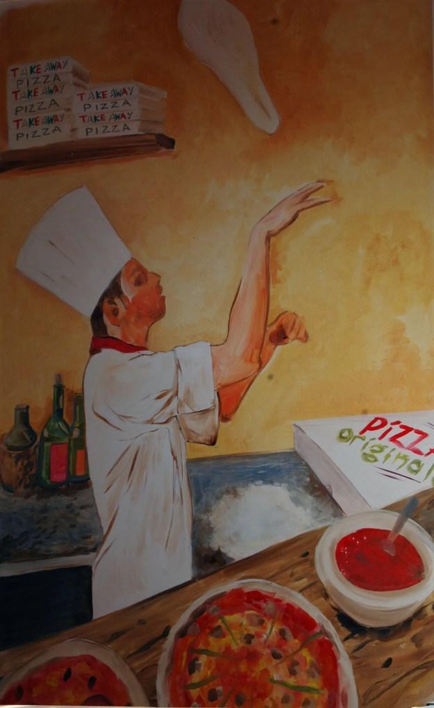 Muurschildering horeca bedrijven pizzeria