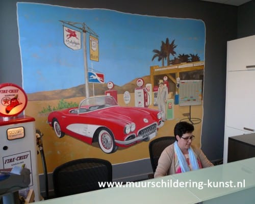Vintage muurschildering auto