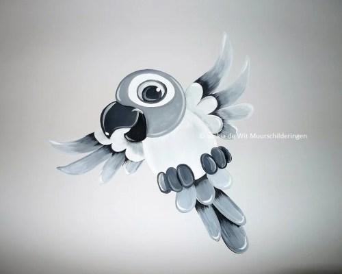 kinderkamer muurschildering papegaai