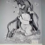 muurschildering babykamer beertje