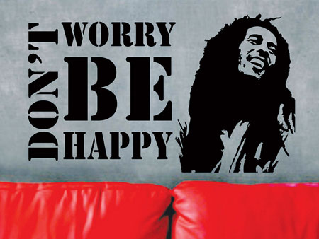 Bob Marley  Dont worry be happy Muursticker
