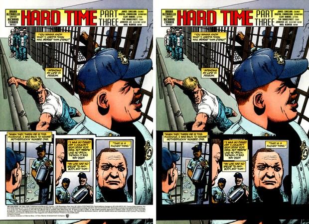 Hard Time, Part 3 pg 1 comic book vs. TB