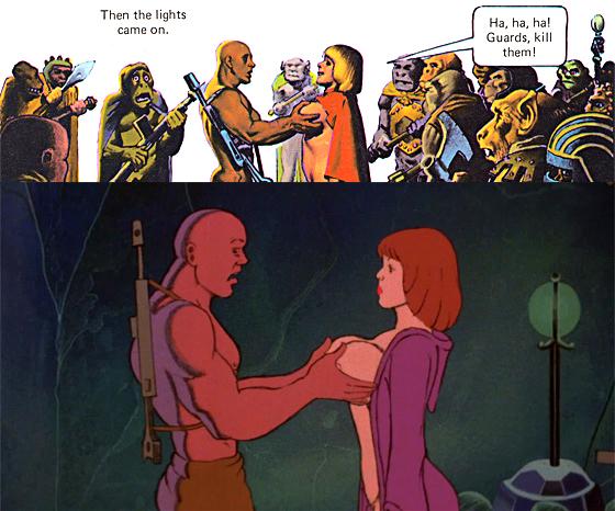 Den, Animation vs. Comic Story