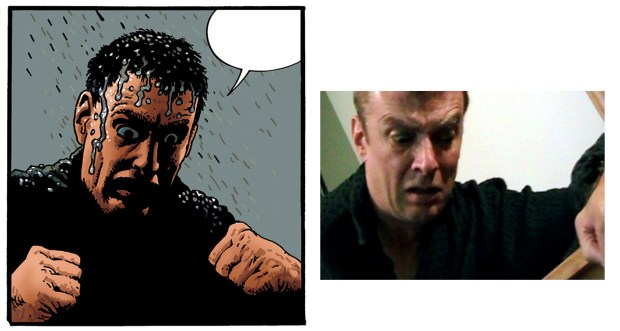 The last panel from pg 7 and a reference photo of Mike Shields.