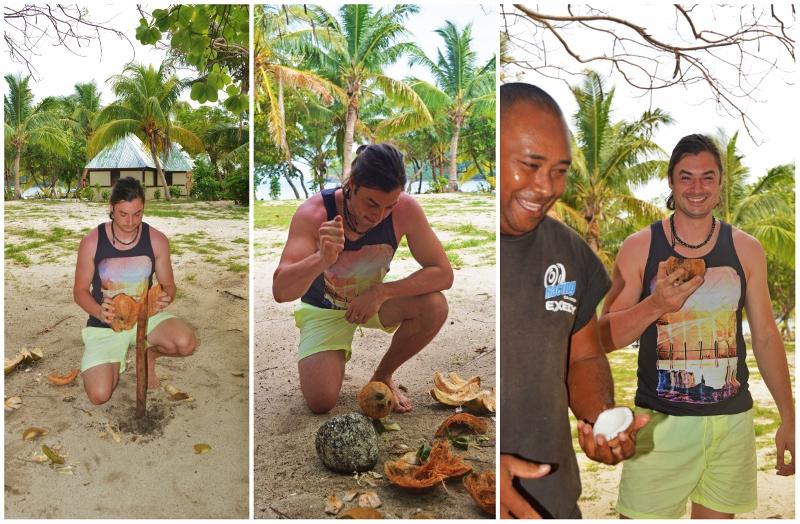 Kookospähkinän halkaisu