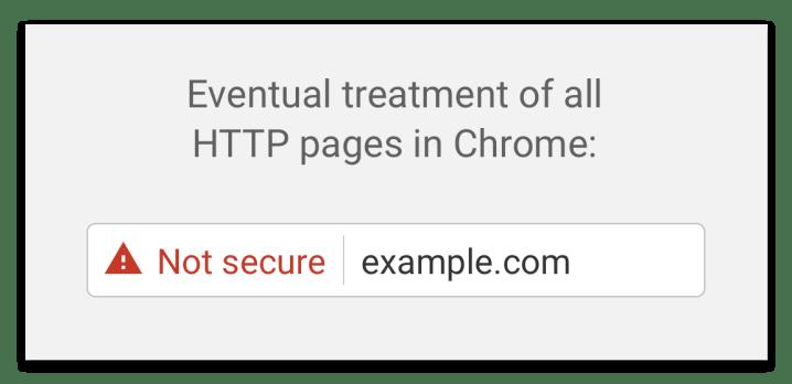 Aviso de que un sitio web HTTP no es seguro en Google Chrome