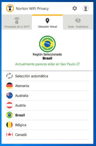 Elegir país en Norton Wi-Fi Privacy para Windows