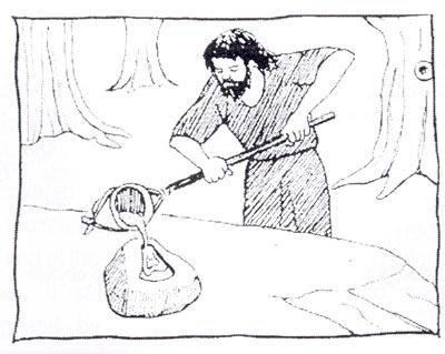 Лиење на бронзена секира во калап од камен.