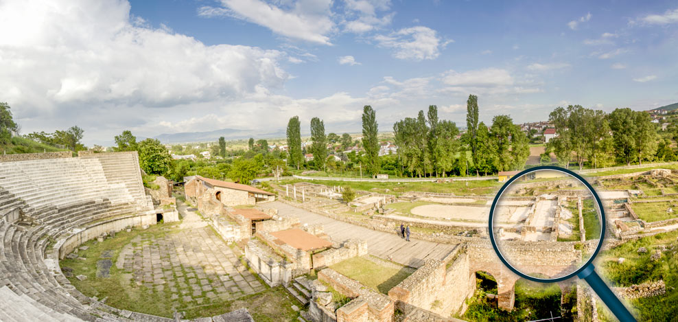 Panoramic photo of Heraclea Lyncestis with the location of the mosaic