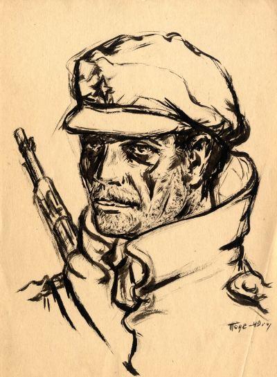 "Уметнички цртеж ""Портрет на Партизан""- современа уметност, автор Тоде Ивановски"