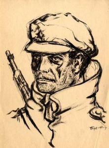 "Artistic drawing ""Portrait of Partizan"" – contemporary art, author Tode Ivanovski"