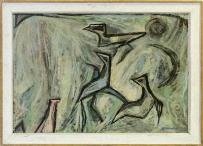 """Уметничка слика """"Птици""""- современа уметност, автор Методија Ивановски"""
