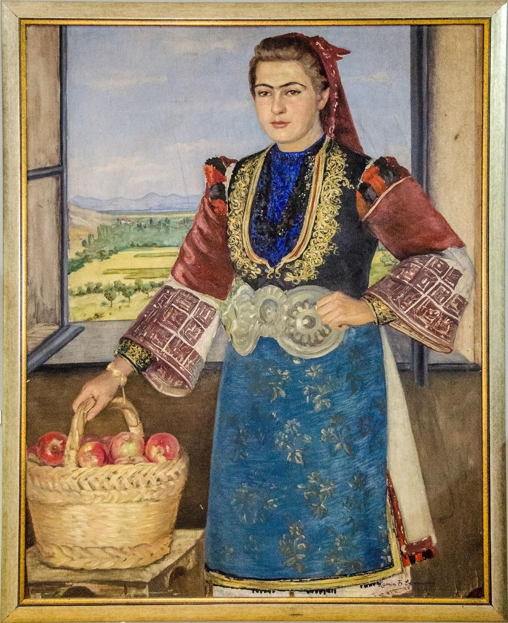 """Уметничка слика – """"Жена со корпа јаболка"""", автор Kатја Ефтимова, 1959 година"""
