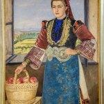 """Read more about the article Уметничка слика – """"Жена со корпа јаболка"""", автор Kатја Ефтимова, 1959 година"""