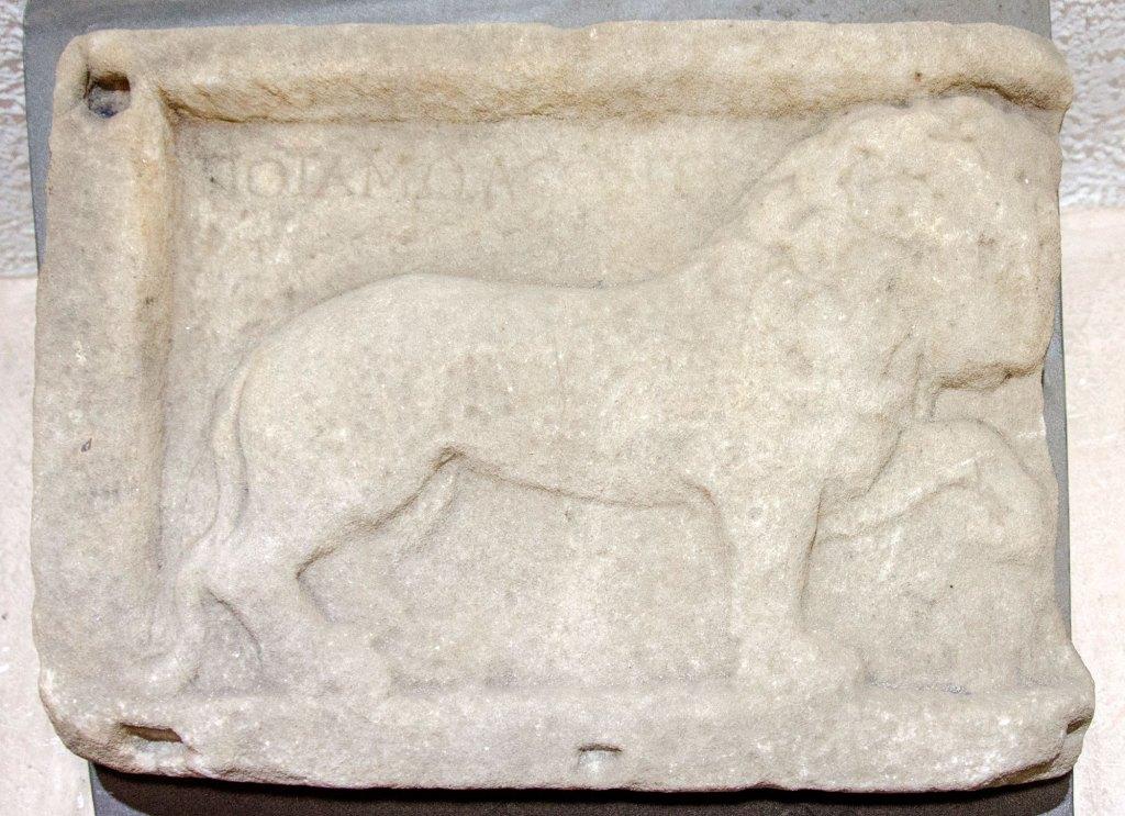Мермерен релјеф со претстава на лав, II-III век нова ера